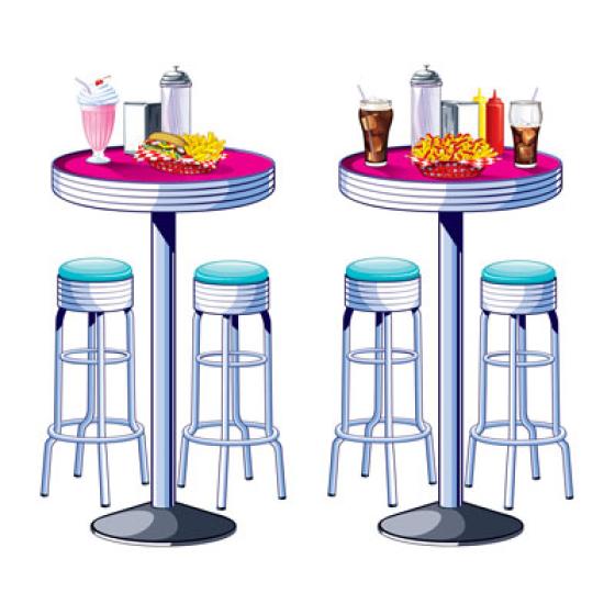 50's Soda Shop Tables & Stools Wall Decorations Insta-Theme Props