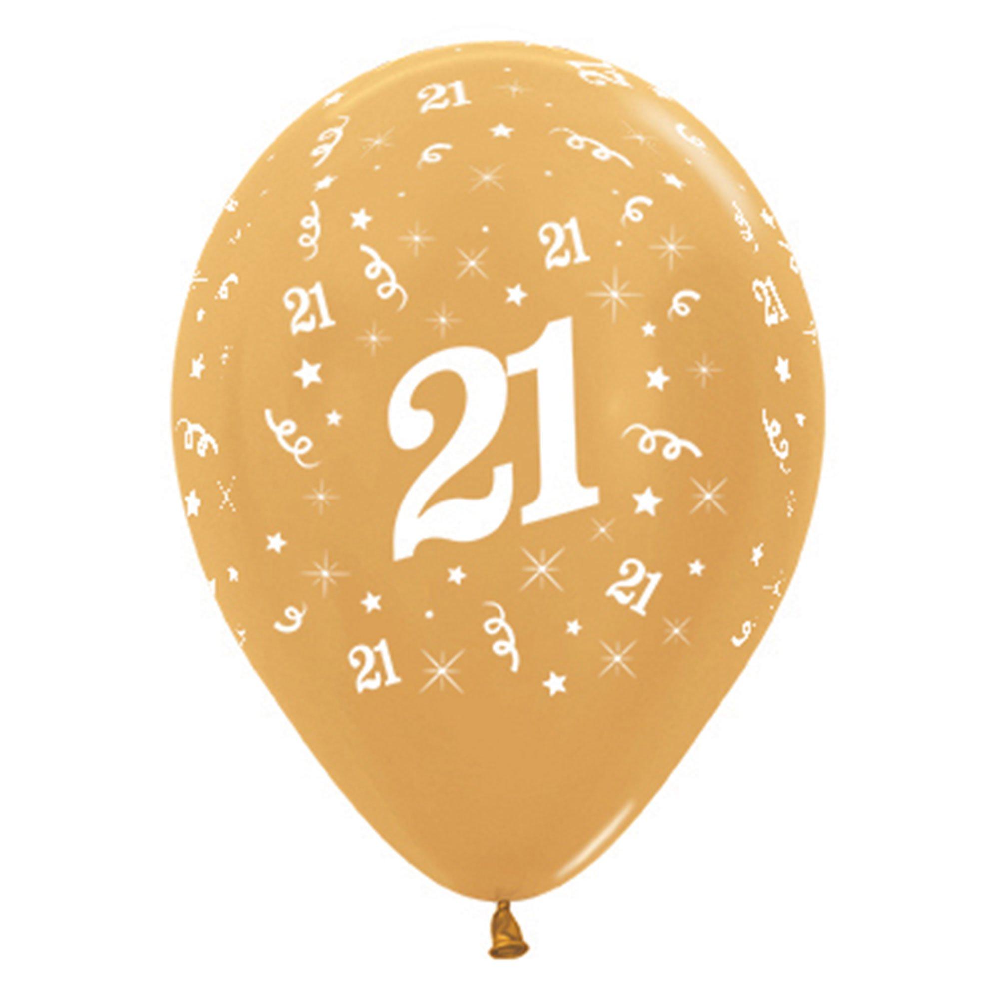 Sempertex 30cm Age 21 Metallic Gold Latex Balloons, 6PK