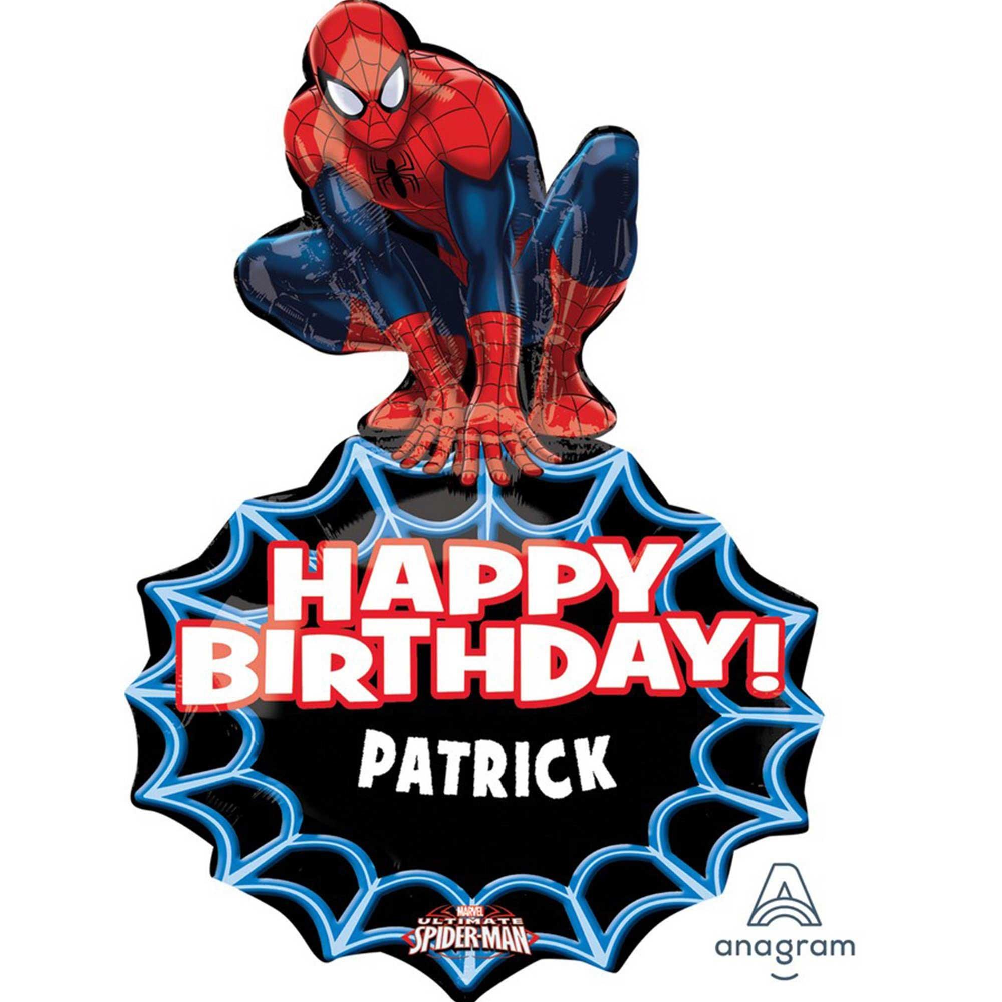 SuperShape XL Personalised Spider-Man Happy Birthday P40
