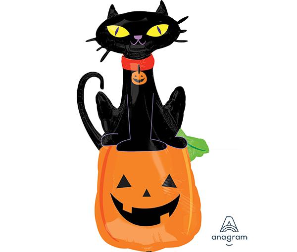 SuperShape Black Cat on Pumpkin P35