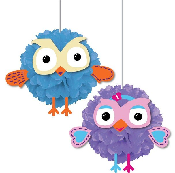 Giggle and Hoot Fluffy Decoration w/cutouts