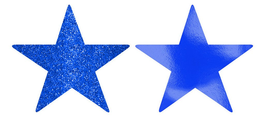 Solid Star Cutouts Foil & Glitter -  Bright Royal Blue