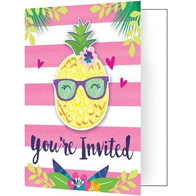 Pineapple N Friends Invitations Foldover Style 10cm x 12cm