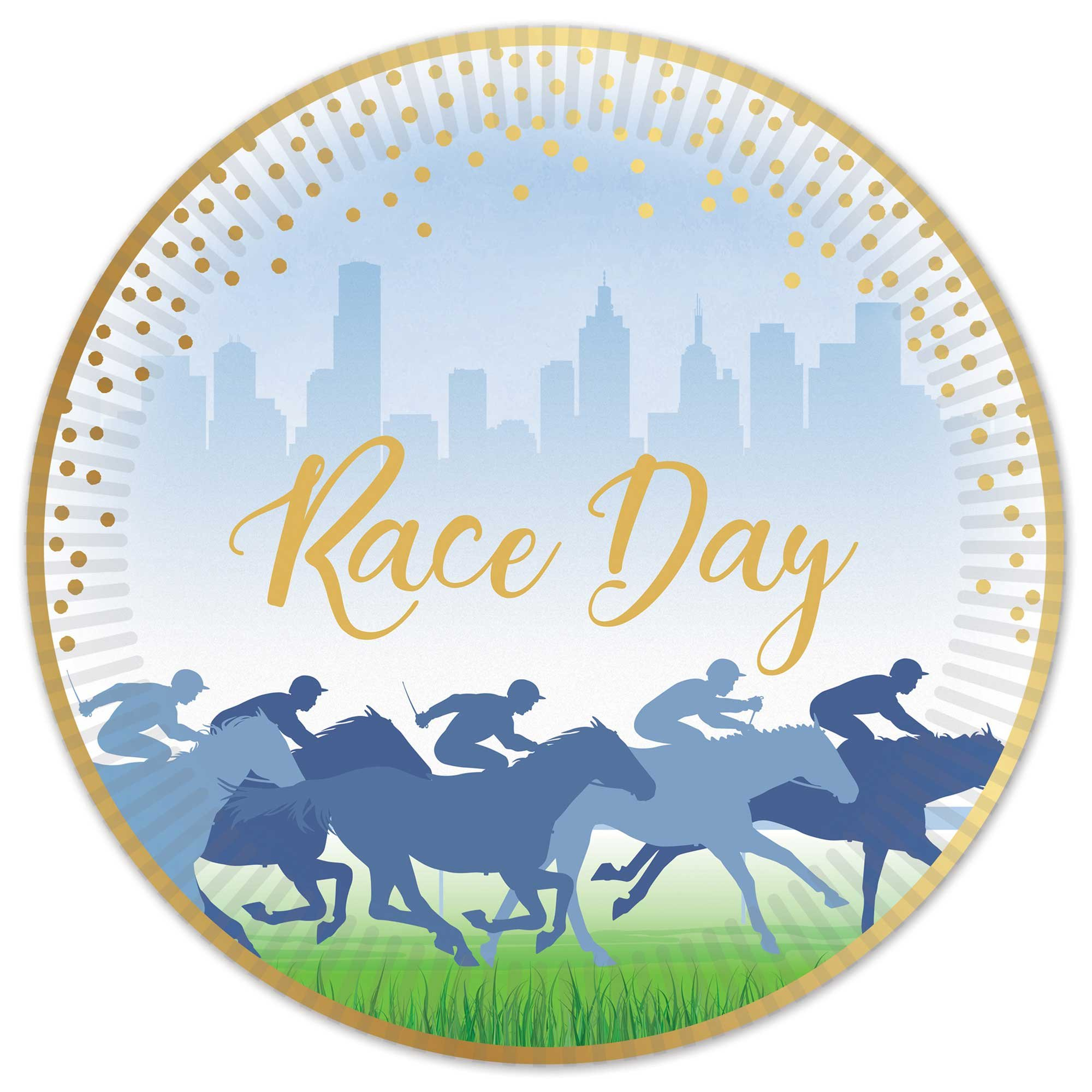 Race Day Hot Stamped  23cm Paper Plates