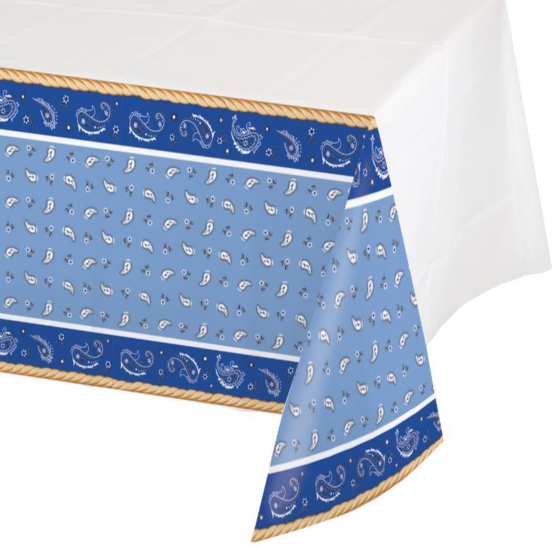 Blue Bandana Cowboy Tablecover Plastic