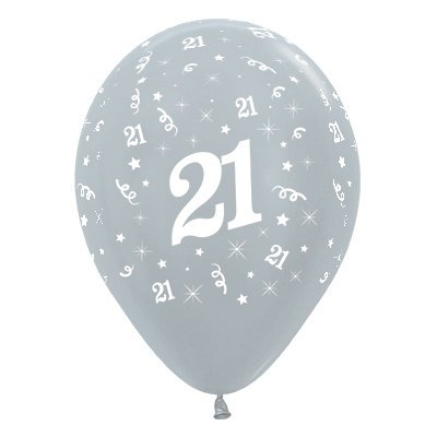 Sempertex 30cm Age 21 Satin Pearl Silver Latex Balloons, 25PK