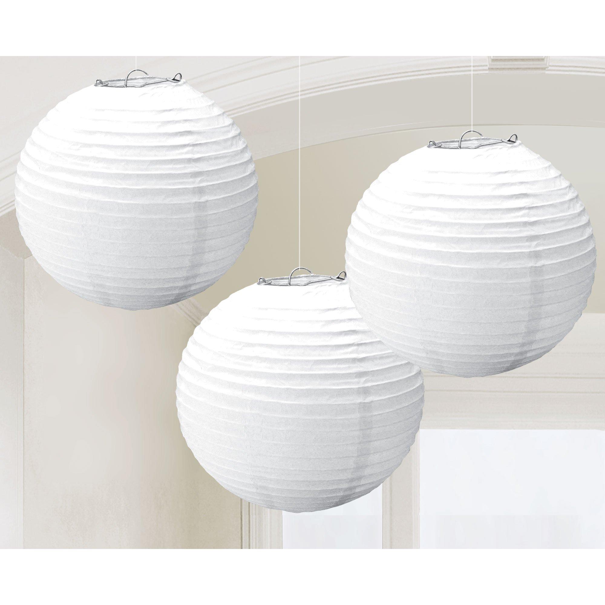Round Paper Lanterns - Frosty White