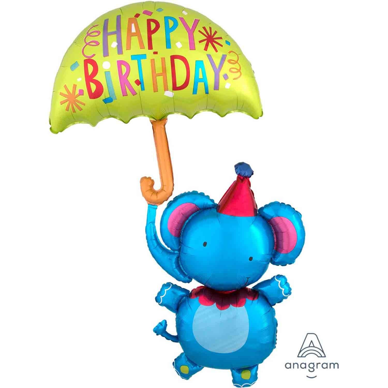 Multi-Balloon Circus Elephant Happy Birthday P45