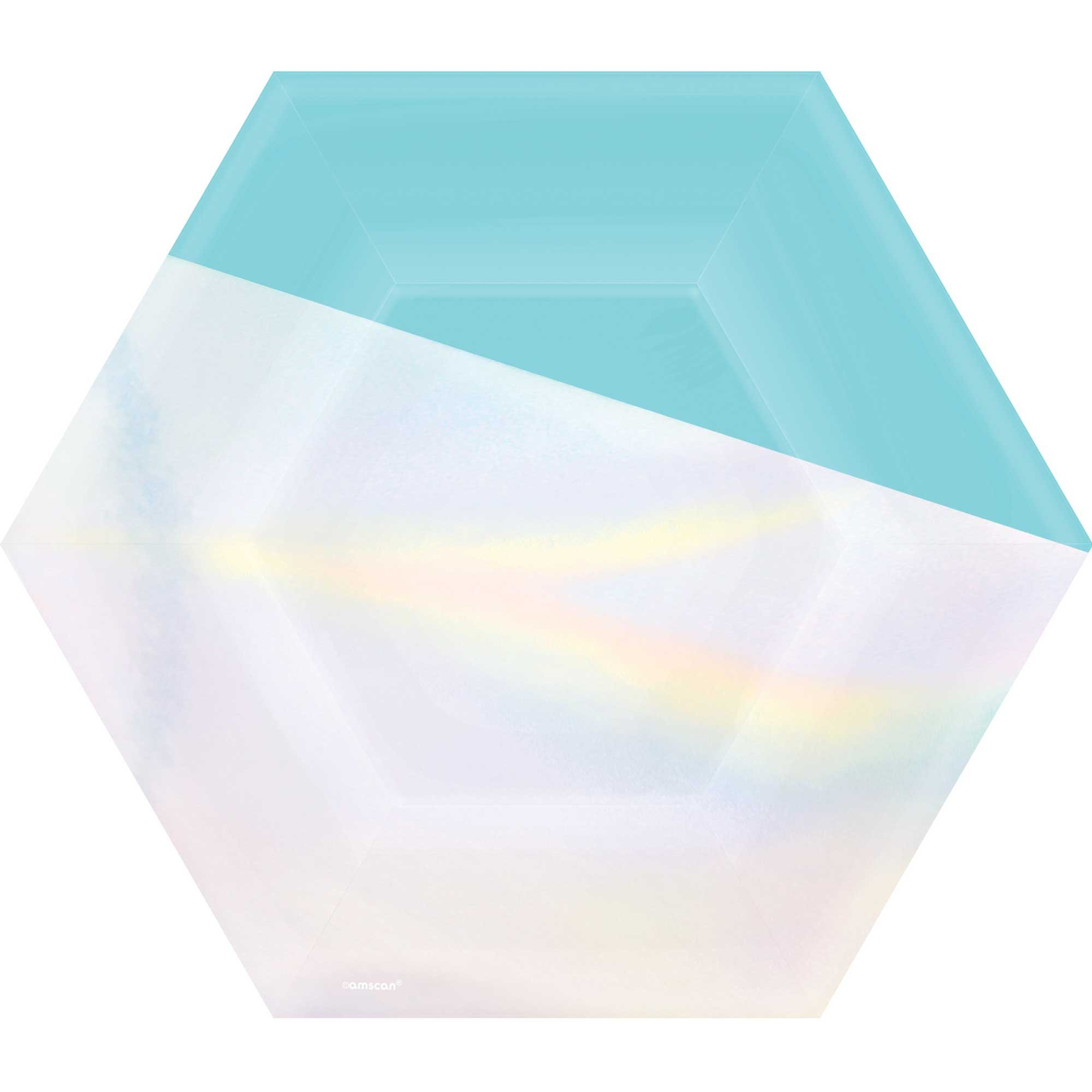 """Shimmering Party Iridescent Hexagonal Plates 9""""/23cm"