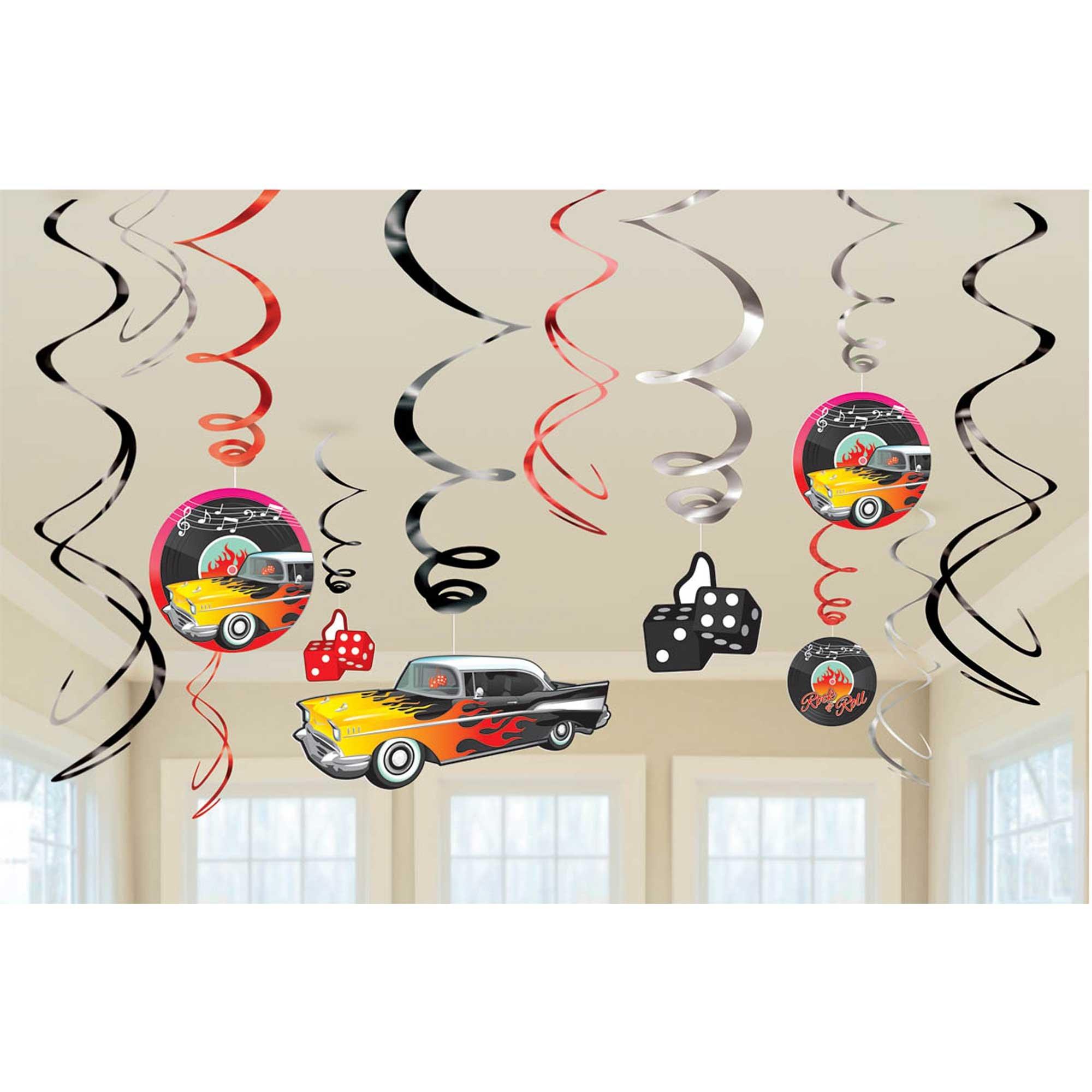 Classic 50's Hanging Swirl Decorations