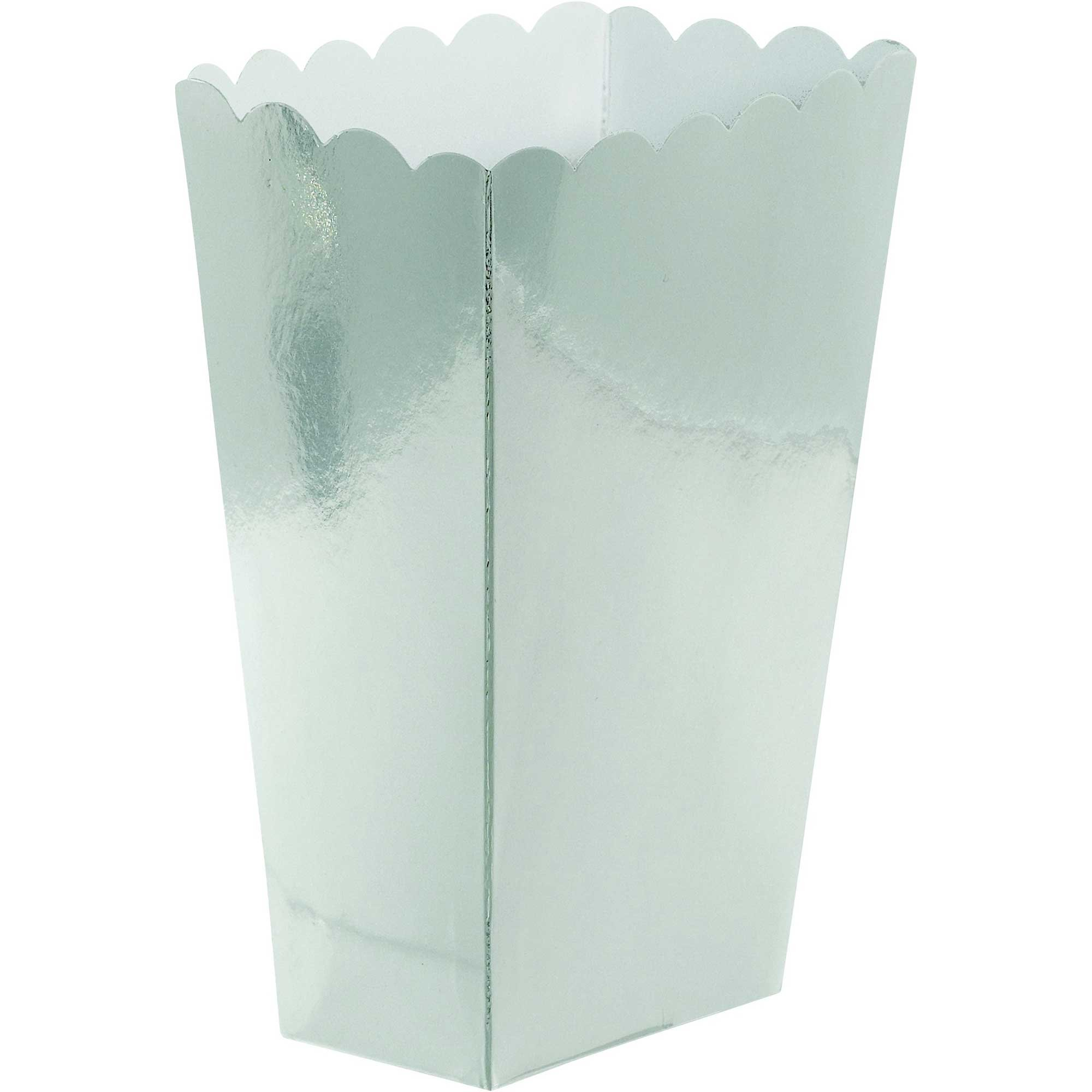 Popcorn Favor Treat Boxes Small Silver