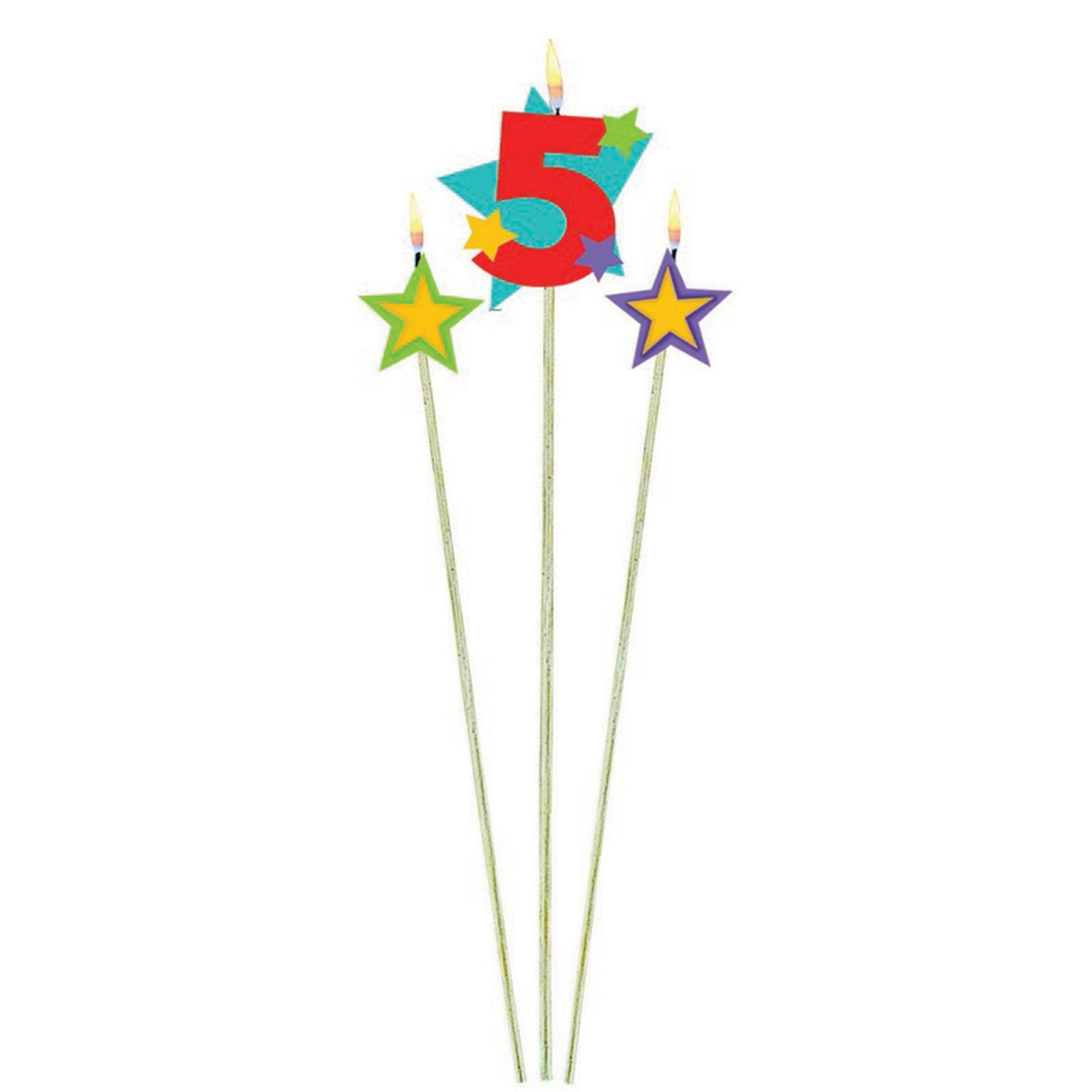 Numeral w/Stars Num. 5 Candle