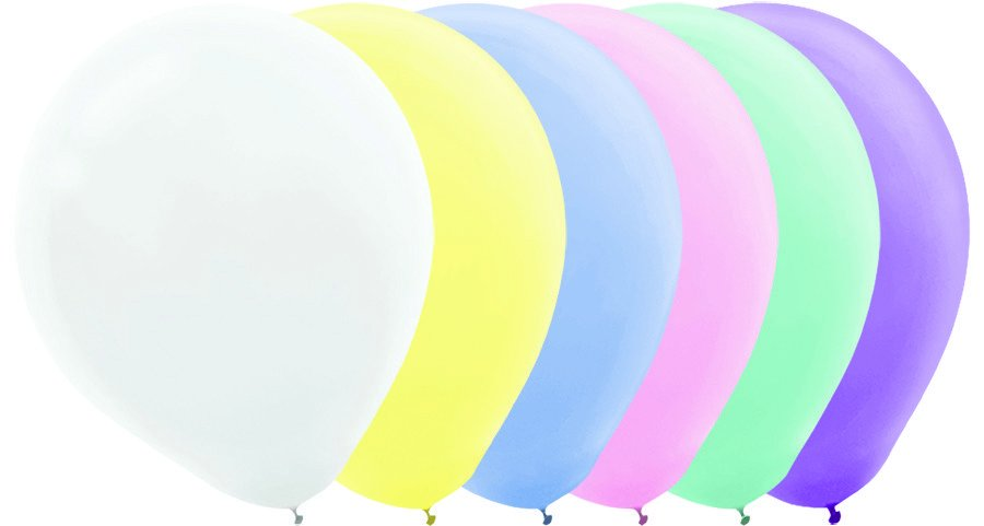 Latex Balloons 30cm 72CT Pastel Assorted