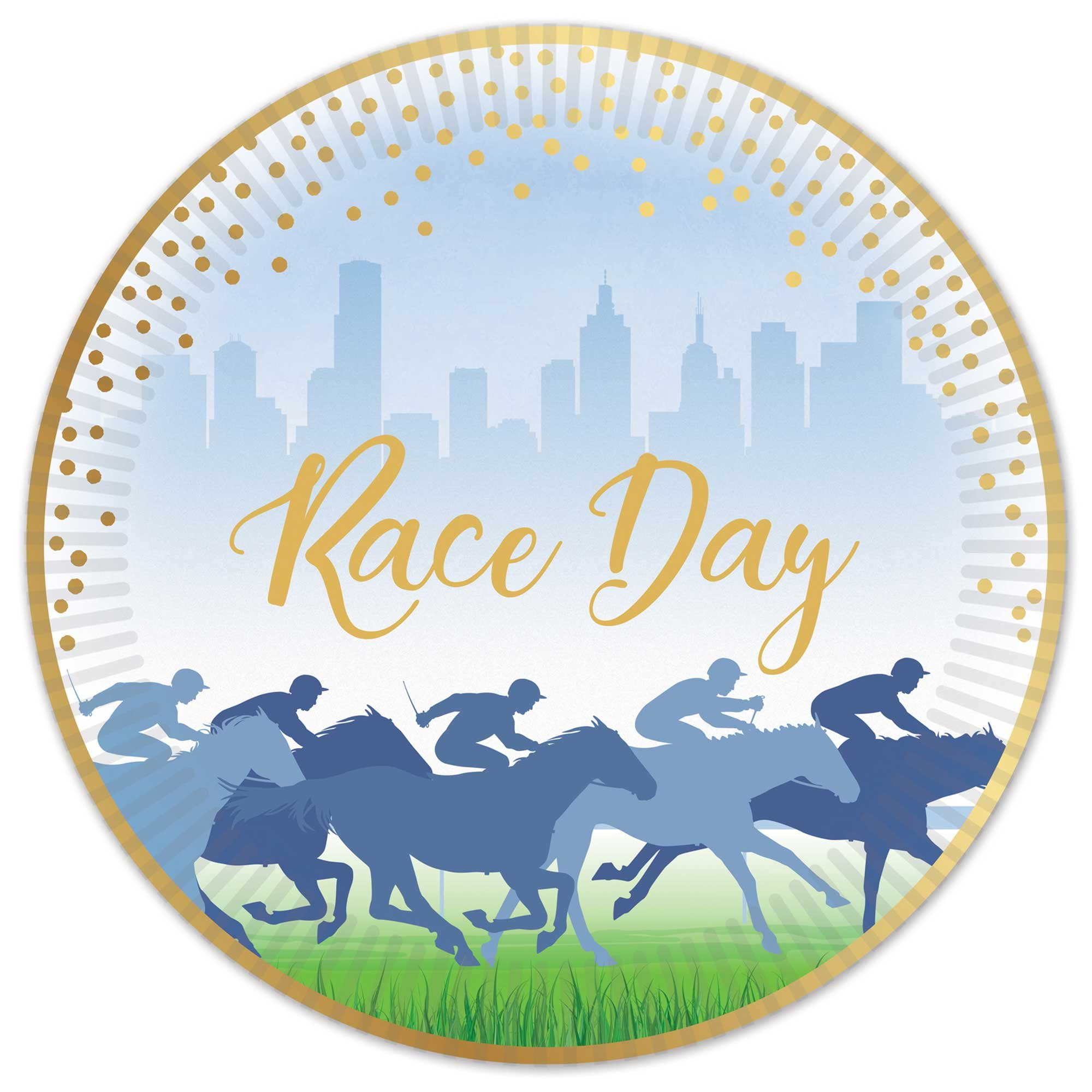 """""""Race Day Hot Stamped 7""""""""/17cm Paper Plates - Bulk Pack 50"""