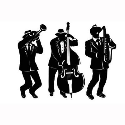 Jazz Band Trio Black & White  Silhouettes Cutouts