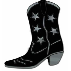 Cowboy Boot Black & Silver Stars Foil Silhouette Cutout