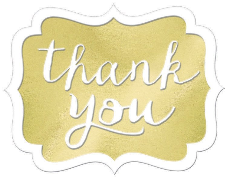 Thank You Stickers - Gold