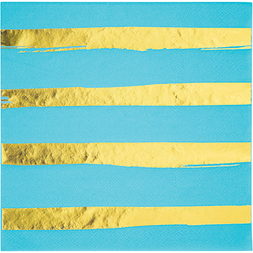 Touch of Colour Bermuda Blue & Gold Foil Striped Lunch Napkins
