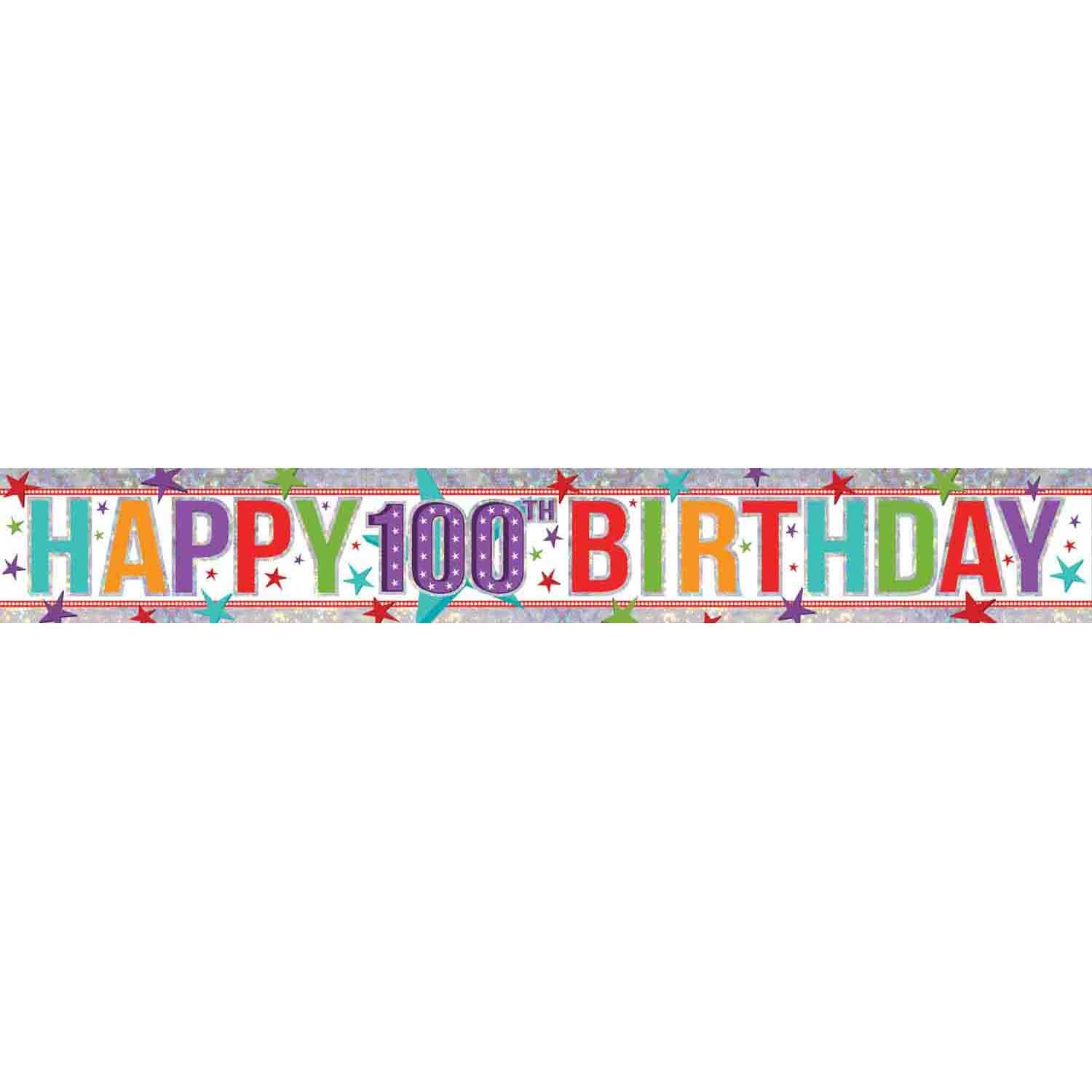 Banner Holographic Happy Birthday 100th Multi-Coloured
