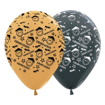 Sempertex 30cm Graduation Smiley Faces Metallic Gold & Graphite Latex Balloons, 25PK
