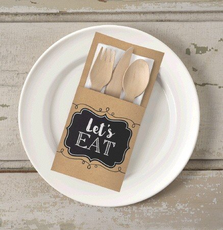 Kraft Paper Cutlery Holder (Cutlery not included)