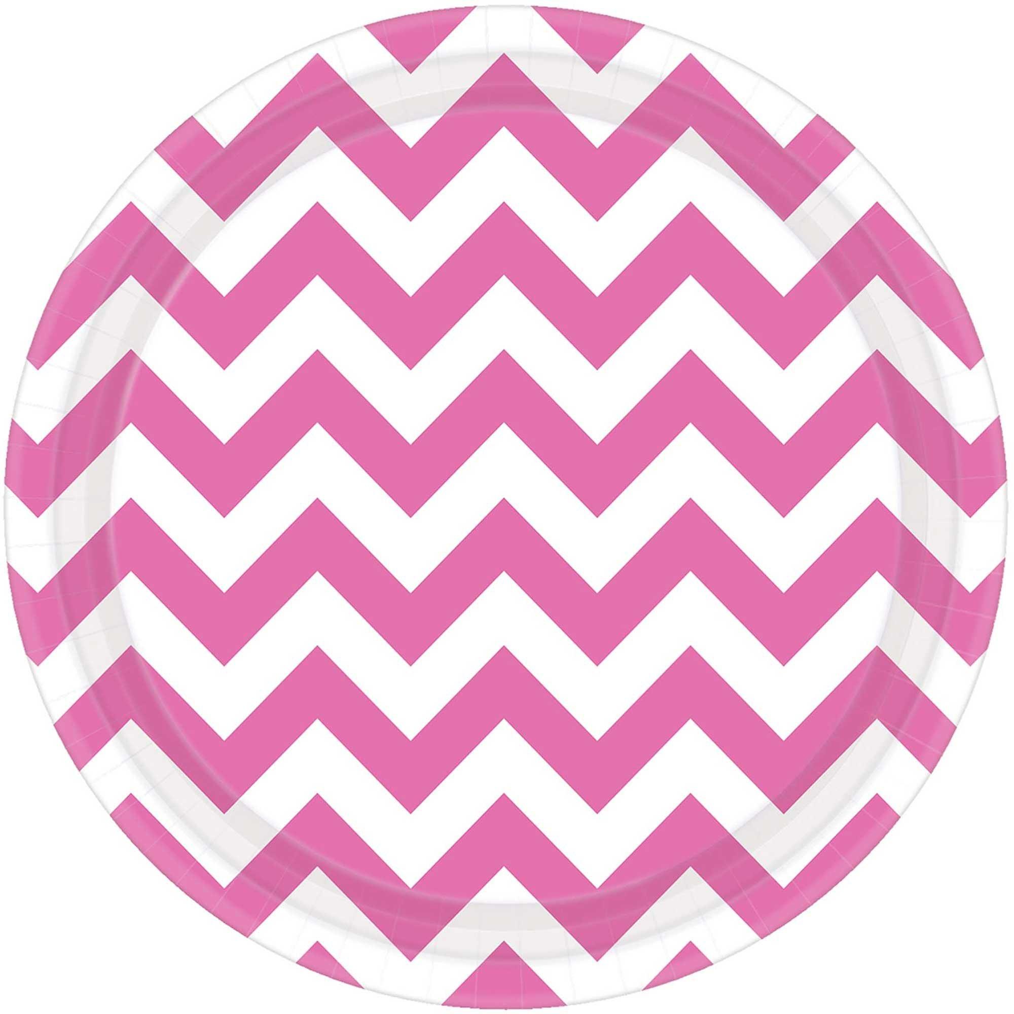 """Chevron 7""""/17cm Round Plates New Pink"