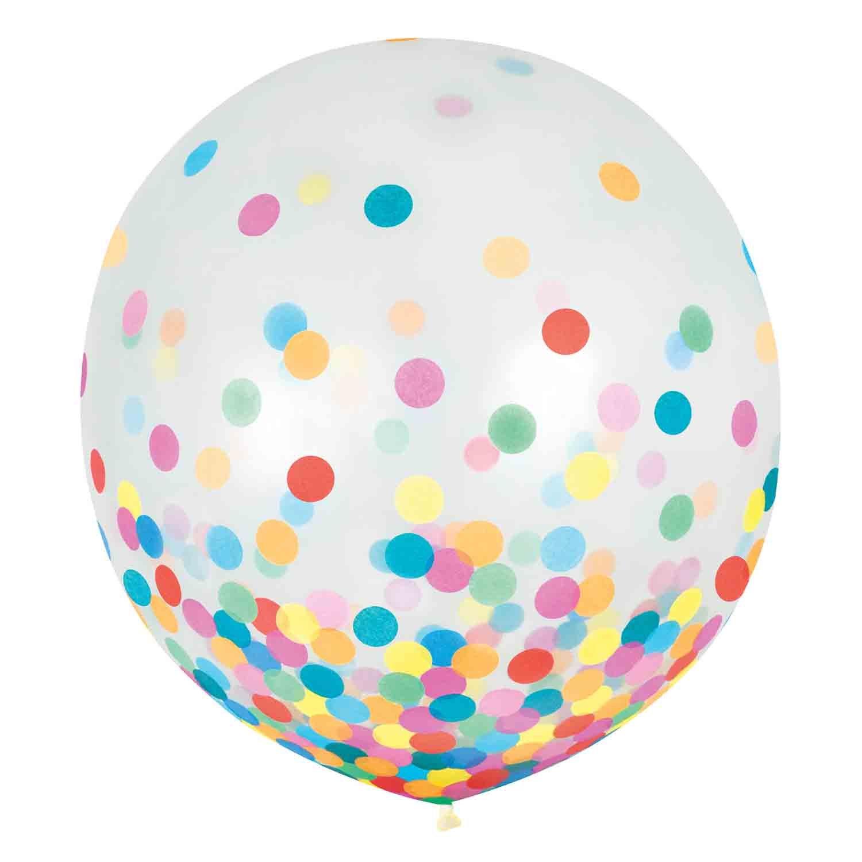 Latex Balloons 60cm & Confetti Blue & Silver
