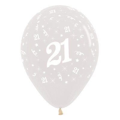Sempertex 30cm Age 21 Crystal Clear Latex Balloons, 25PK