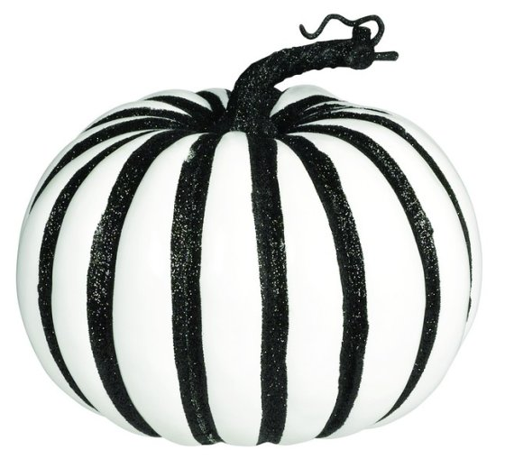 Large White Plastic Pumpkin with Glittered Black Stripes