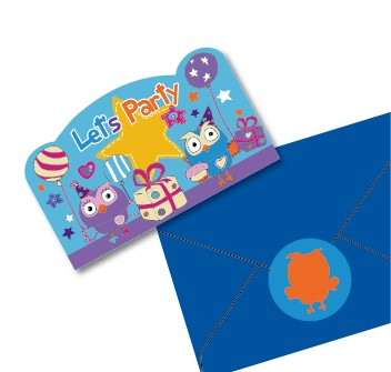 Giggle and Hoot Postcard Invitations