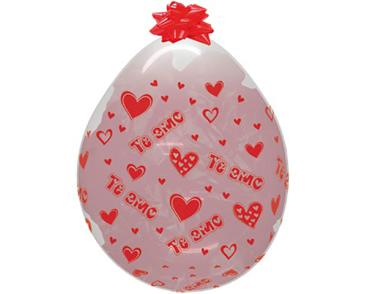 Sempertex 45cm Stuffing Crystal Clear Diamond I Love You Latex Balloons, 6PK