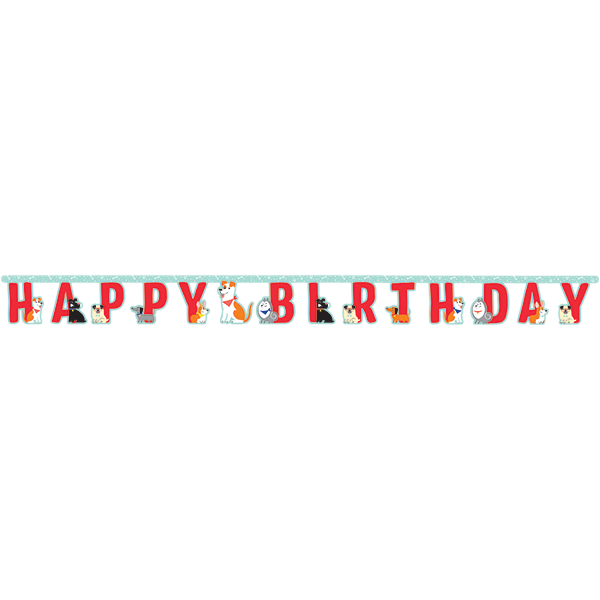 Dog Party Happy Birthday Jointed Banner 18cm x 2.2m