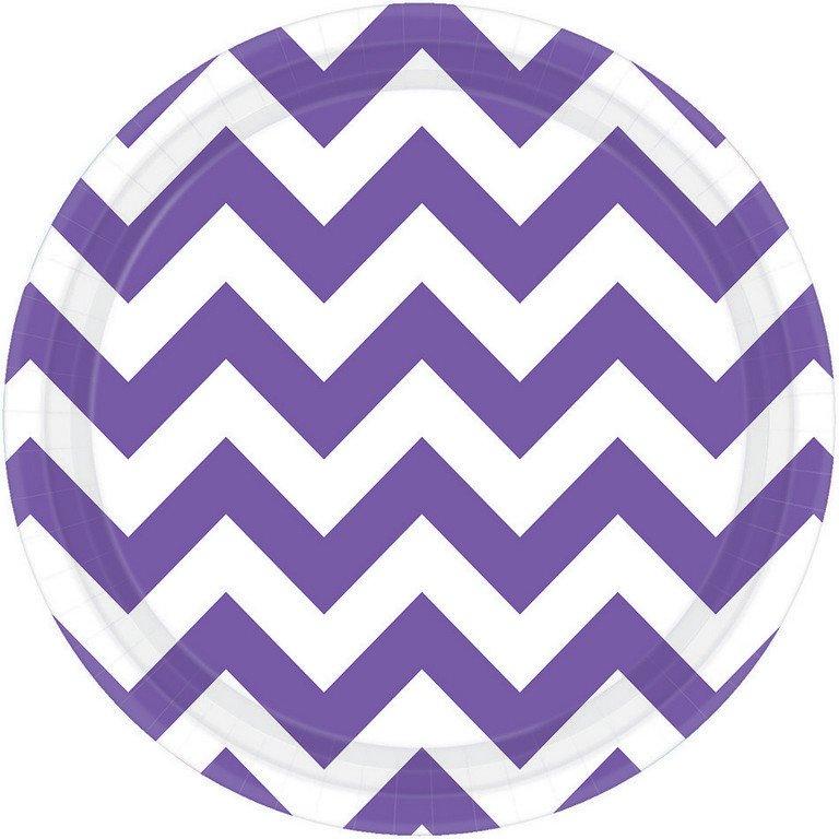 Chevron 17cm Round Plates New Purple
