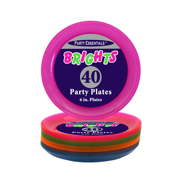 Plates Snack Neon Assorted 152mm