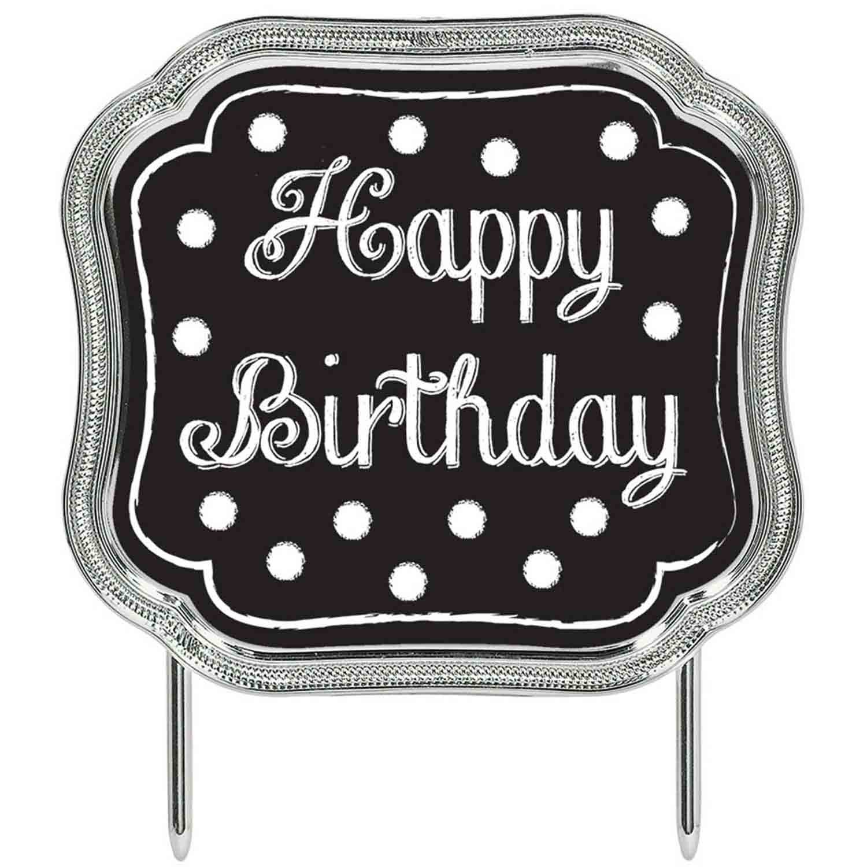 Cake Topper - Happy Birthday Black Plastic