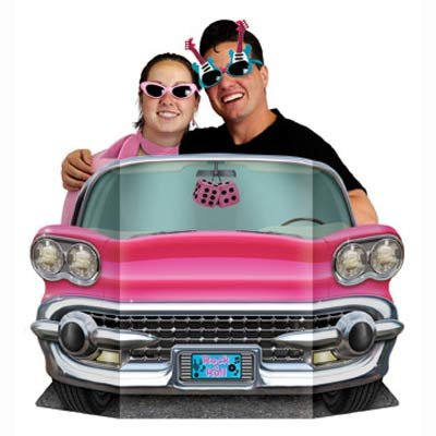 50's Rock & Roll Pink Convertible Car Photo Prop
