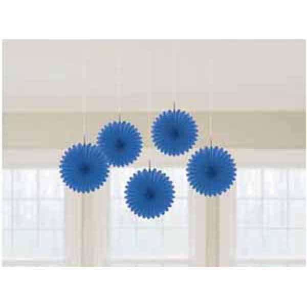Mini Fan Decorations - Bright Royal Blue
