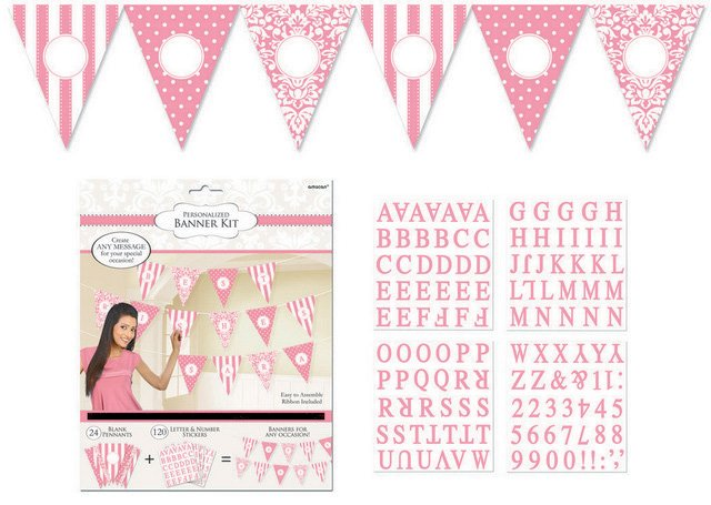 New Pink Personalized Pennant Banner