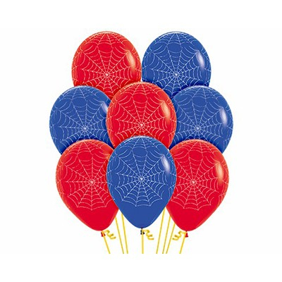 Sempertex 30cm Spider Webs on Fashion Red & Royal Blue Latex Balloons, 12PK
