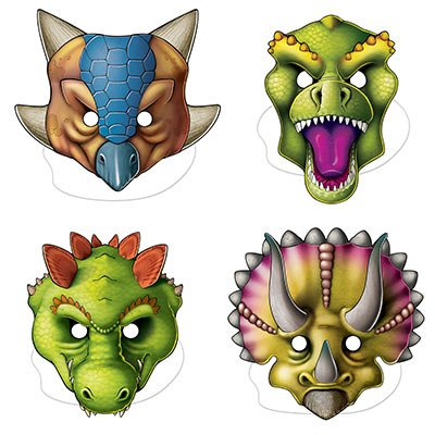 Dinosaurs Masks Assorted Designs & Sizes