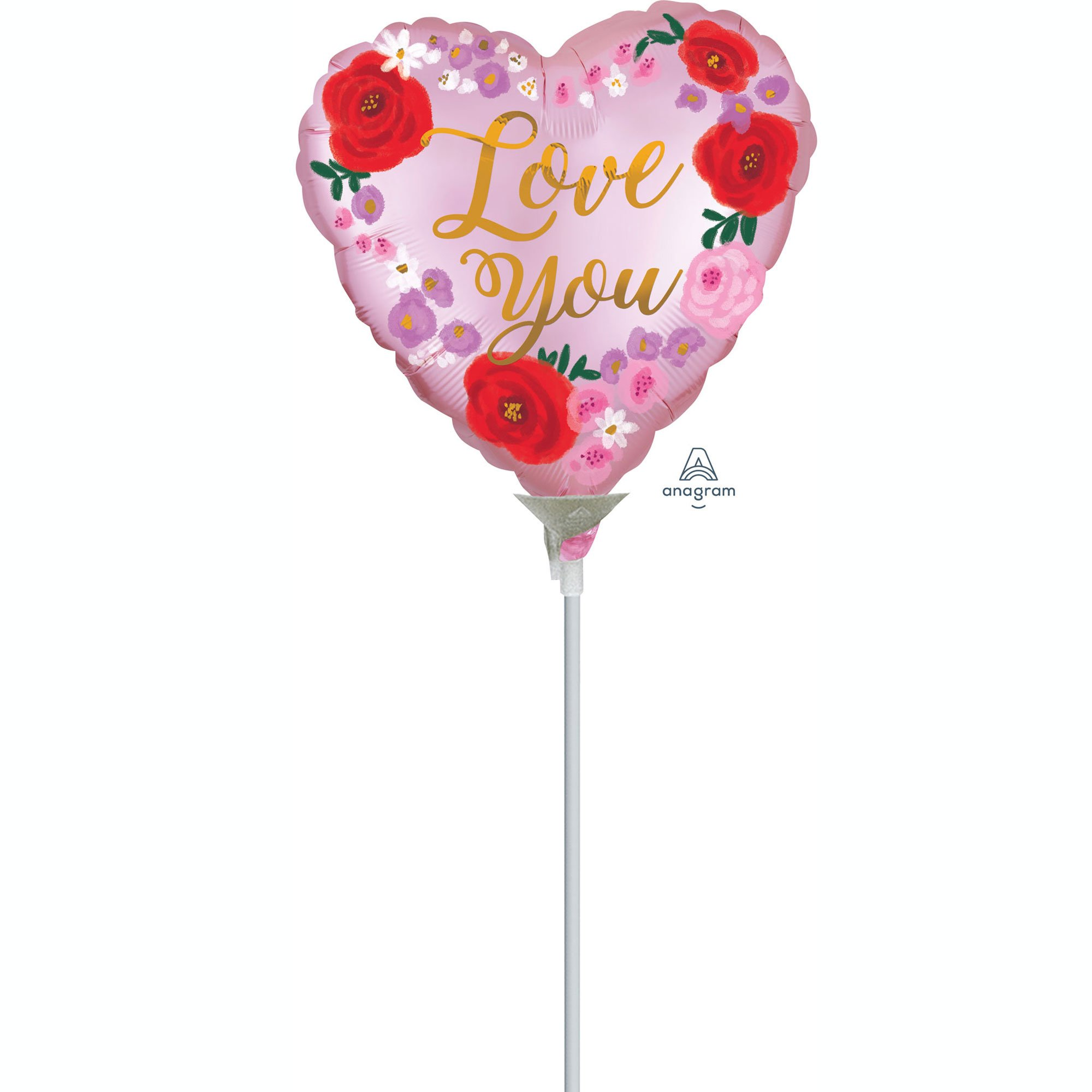 22cm Love You Satin Painted Floral A15
