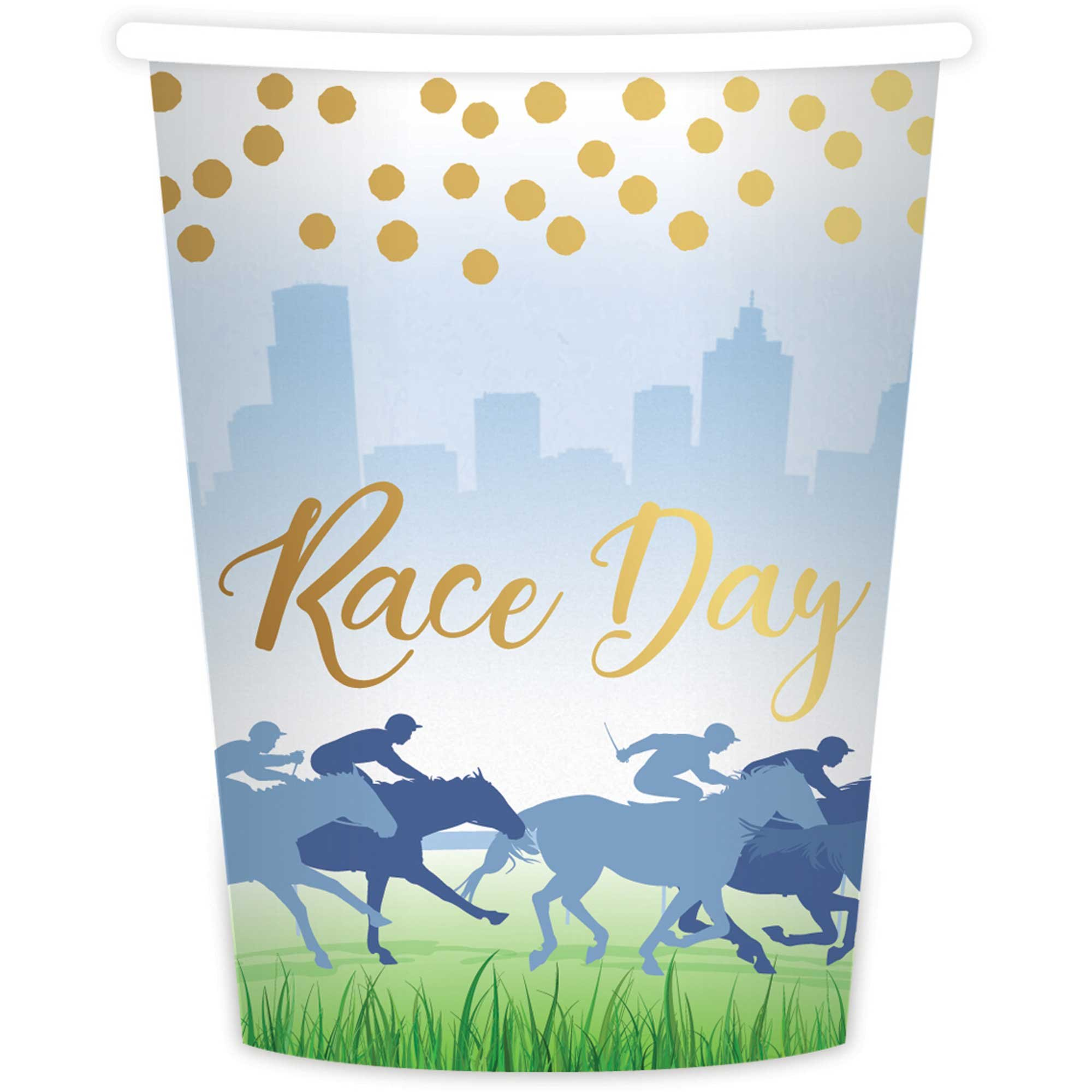 Race Day Hot Stamped 9oz/266ml Paper Cups