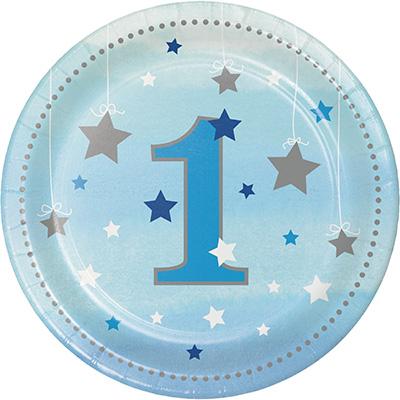 One Little Star Boy Lunch Plates 1st Birthday Paper 18cm