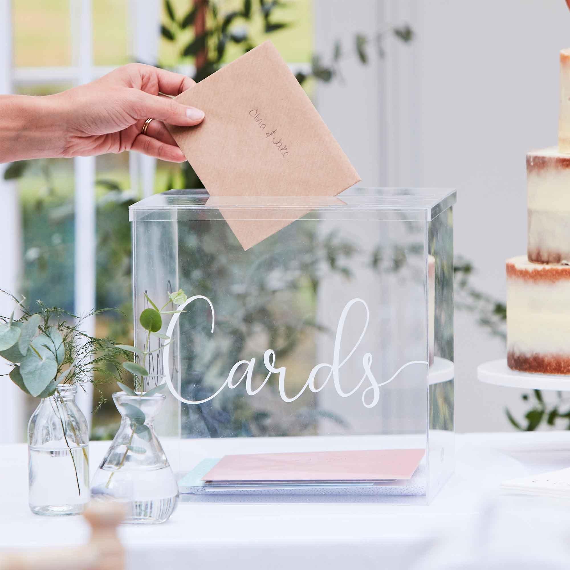 Botanical Wedding Card Box Acrylic