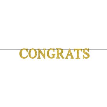 Congrats Large Letter Banner Gold Glittered