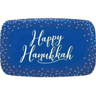 Happy Hanukkah Rectangular Serving  Platter Hot Stamped Plastic