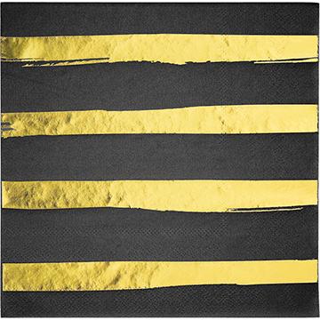 Touch of Colour Black Velvet & Gold Foil Striped Lunch Napkins
