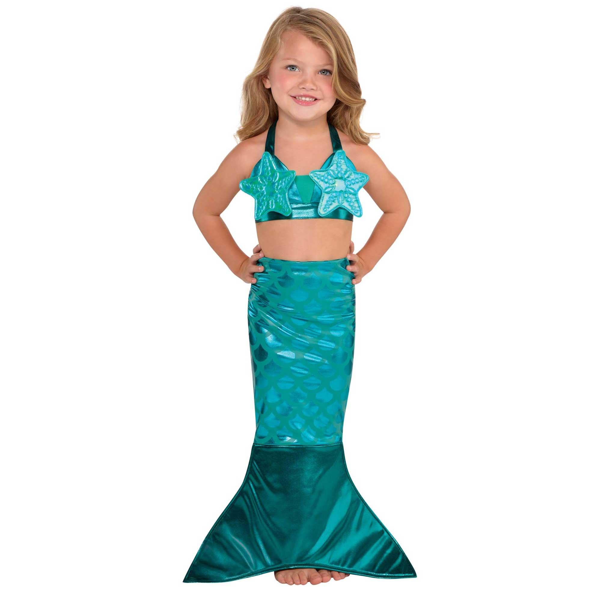 Mermaid Teal Costume Kit Girl Small 4-6 Years