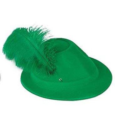 Oktoberfest Alpine Green Velour Plastic Hat