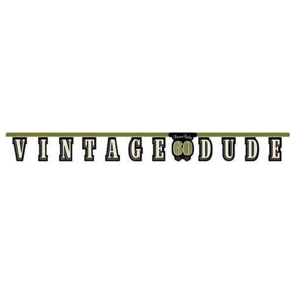 Vintage Dude 60th Birthday Jointed Banner 18cm x 1.7m